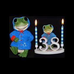 La grenouille du bonheur bleu pour anniversaire