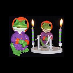 La grenouille du bonheur violette pour anniversaire