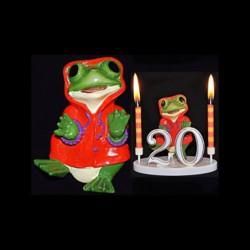 La grenouille du bonheur rose/orange pour anniversaire