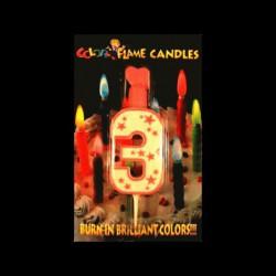 Chiffre flamme colorée n°3
