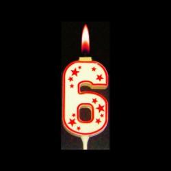 Chiffre flamme colorée n°6