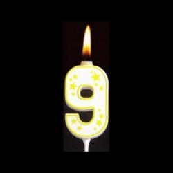 Chiffre flamme colorée n°9