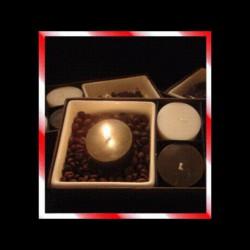 Coffret 4 bougies parfumées avec plateau céramique