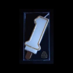 Bougie chiffre n°1 avec liseré or