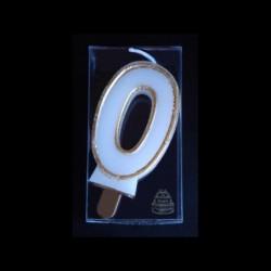 Bougie chiffre n°0 avec liseré or
