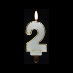 Bougie chiffre n°2 avec liseré or