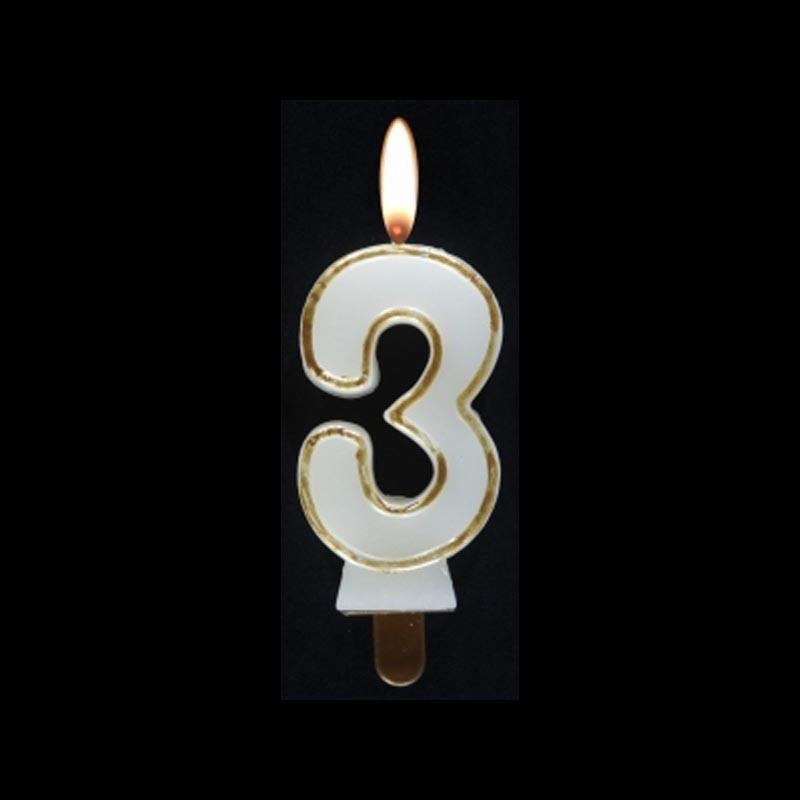 Bougie chiffre n°3 avec liseré or