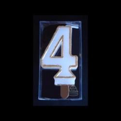 Bougie chiffre n°4 avec liseré or