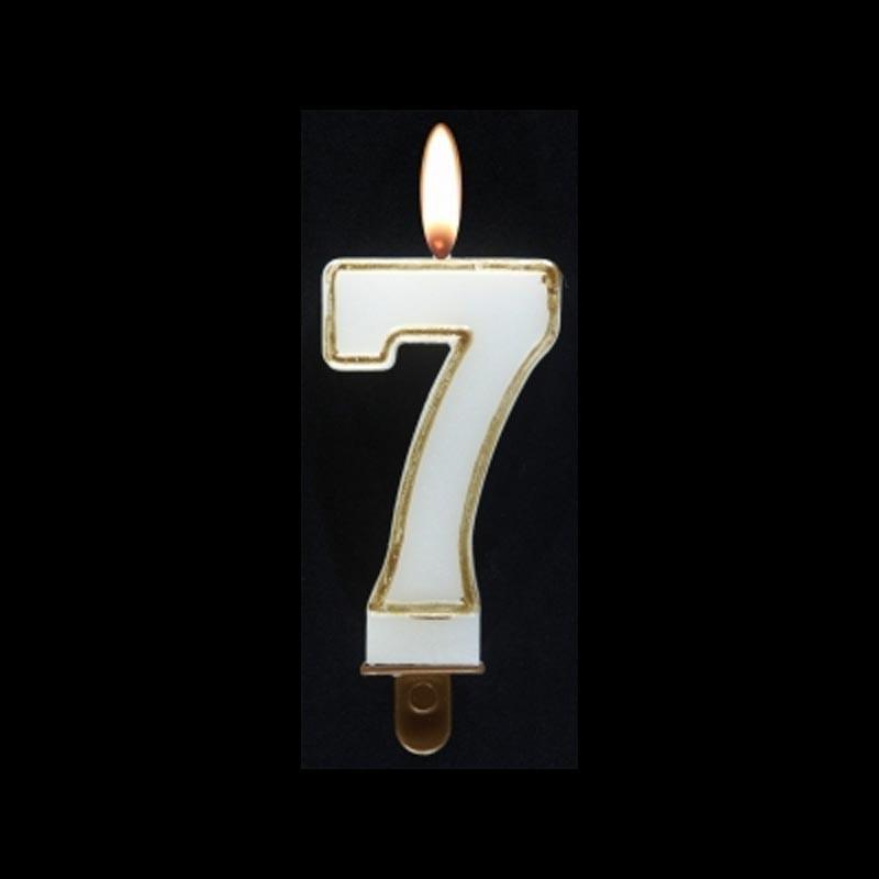 Bougie chiffre n°7 avec liseré or