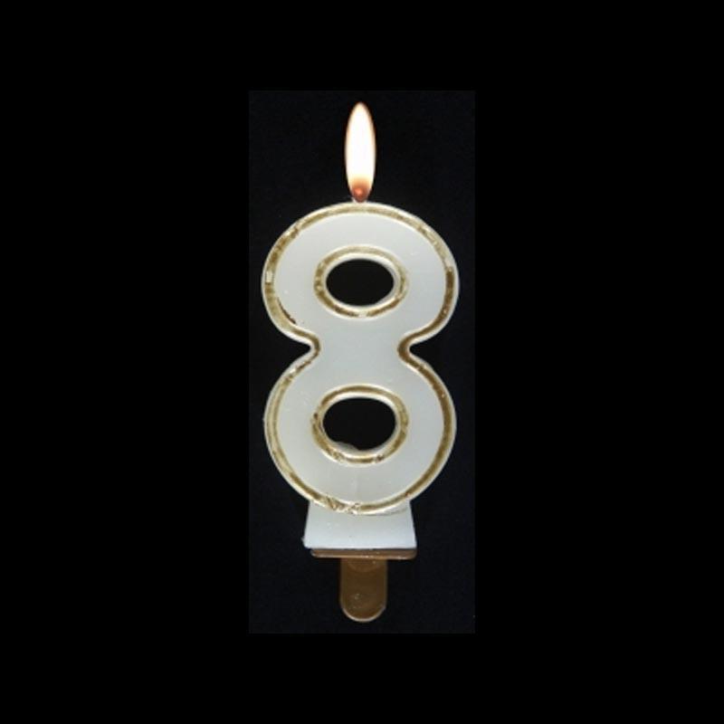 Bougie chiffre n°8 avec liseré or