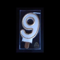 Bougie chiffre n°9 avec liseré or