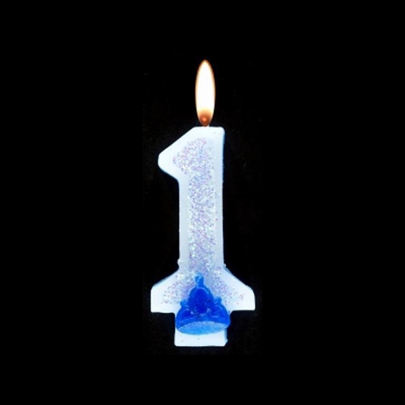 Bougie chiffre bleu n°1 pailleté avec support, sous blister
