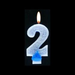 Bougie chiffre bleu n°2 pailleté avec support, sous blister