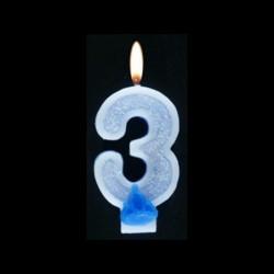 Bougie chiffre bleu n°3 pailleté avec support, sous blister