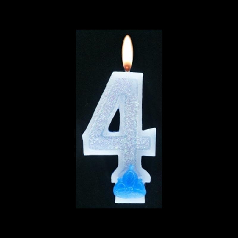 Bougie chiffre bleu n°4 pailleté avec support, sous blister