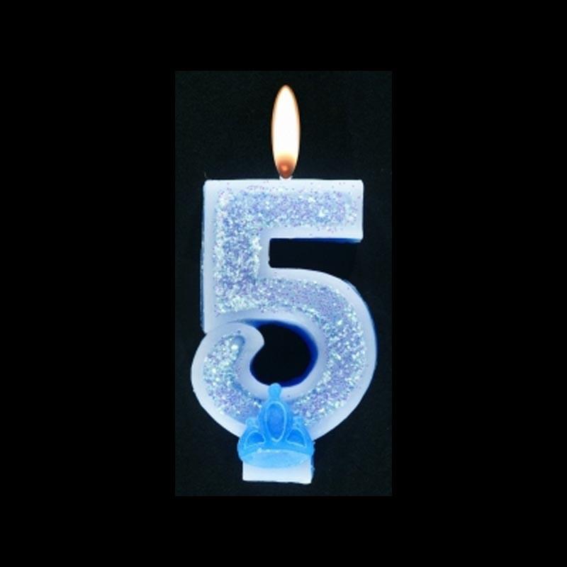 Bougie chiffre bleu n°5 pailleté avec support, sous blister