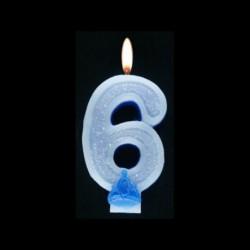 Bougie chiffre bleu n°6 pailleté avec support, sous blister
