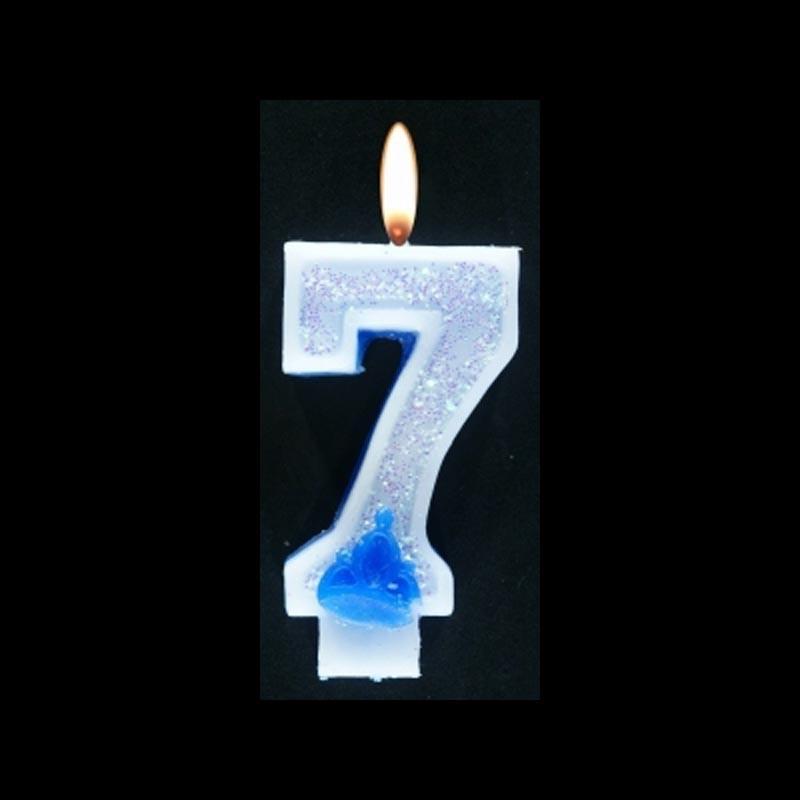 Bougie chiffre bleu n°7 pailleté avec support, sous blister