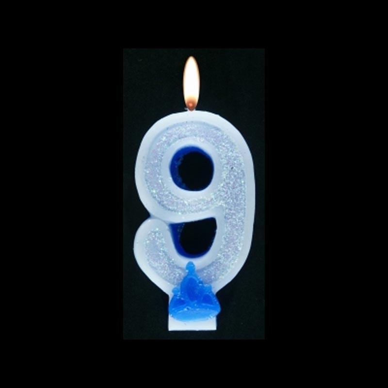 Bougie chiffre bleu n°9 pailleté avec support, sous blister