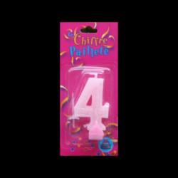 Bougie chiffre rose n°4 pailleté avec support, sous blister