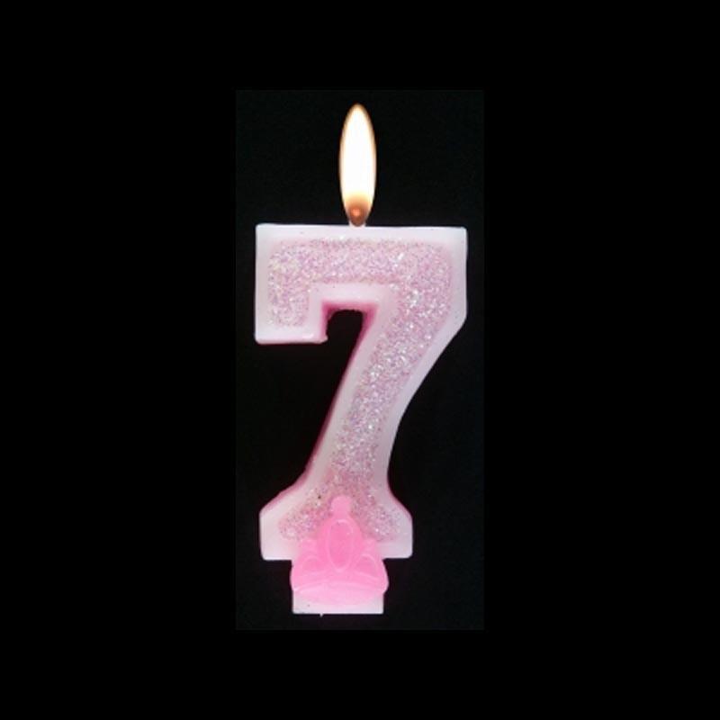 Bougie chiffre rose n°7 pailleté avec support, sous blister