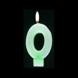 Bougie chiffre vert n°0 pailleté avec support, sous blister