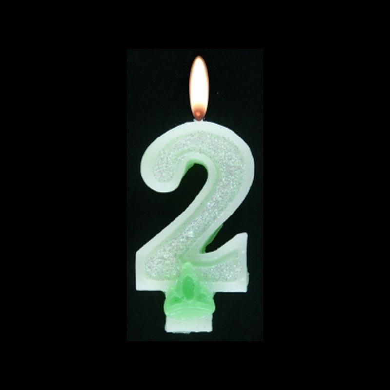 Bougie chiffre vert n°2 pailleté avec support, sous blister
