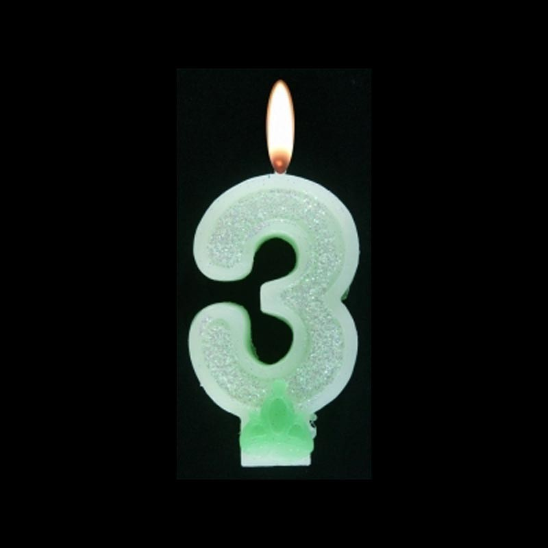 Bougie chiffre vert n°3 pailleté avec support, sous blister