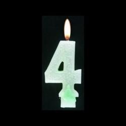 Bougie chiffre vert n°4 pailleté avec support, sous blister