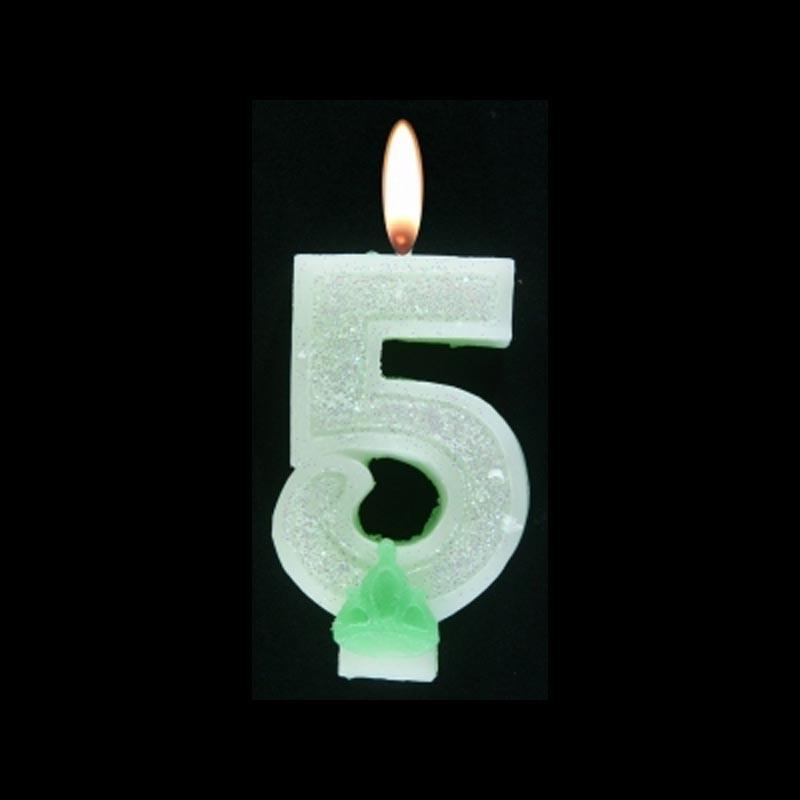 Bougie chiffre vert n°5 pailleté avec support, sous blister