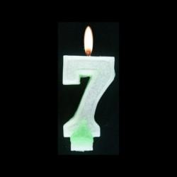Bougie chiffre vert n°7 pailleté avec support, sous blister