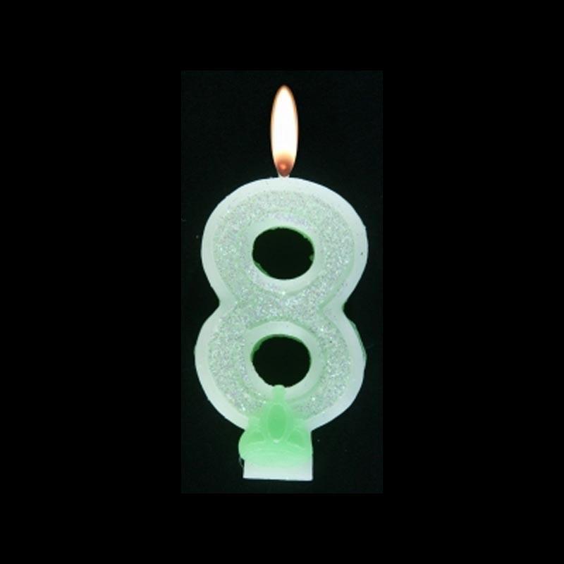 Bougie chiffre vert n°8 pailleté avec support, sous blister