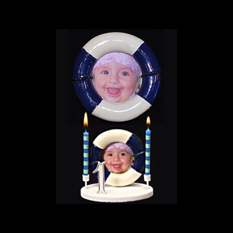 Le porte-photo bouée bleue pour anniversaire