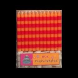 24 Bougies Classiques à Rayures Rouges/Oranges